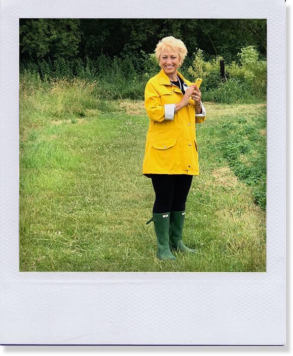 Liz in her yellow jacket